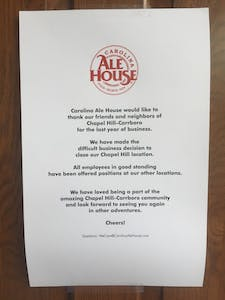 Carolina Ale House Menu