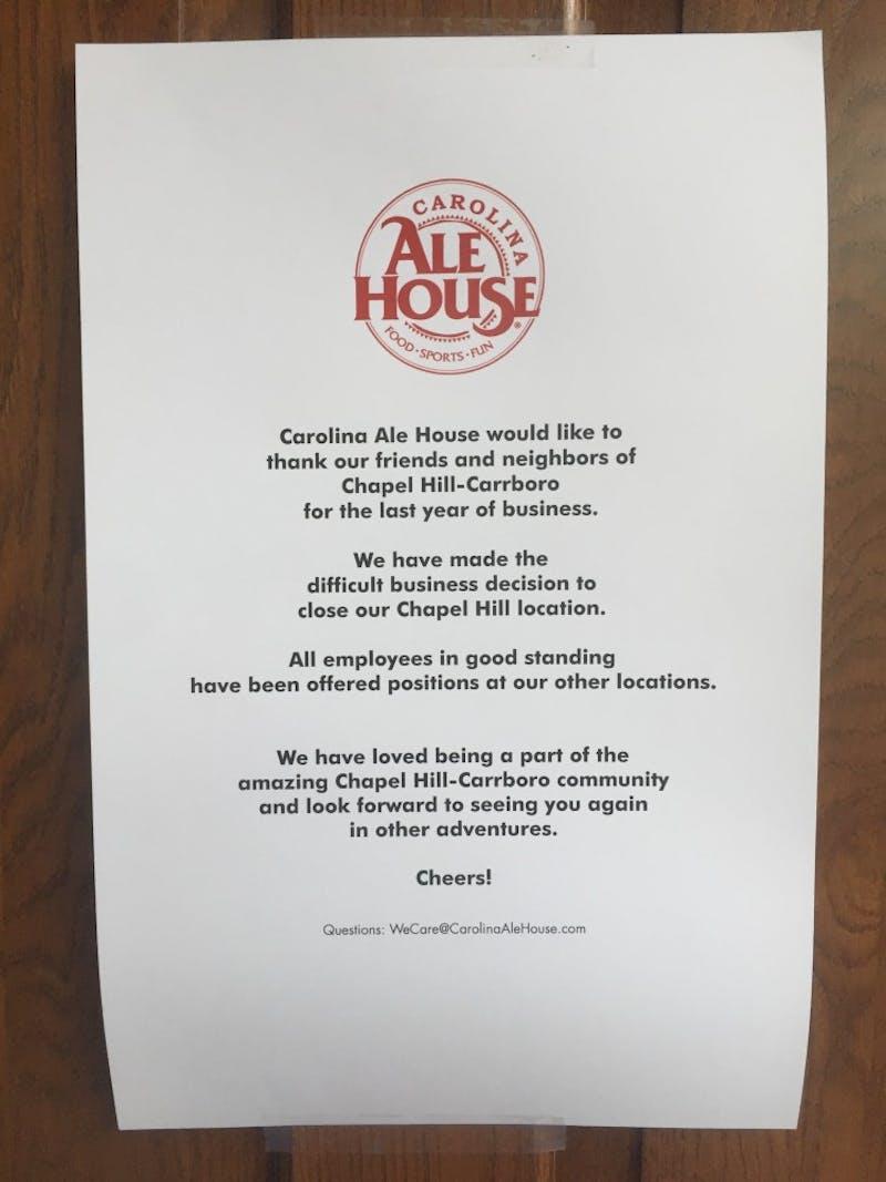 Carolina Ale House Menu
