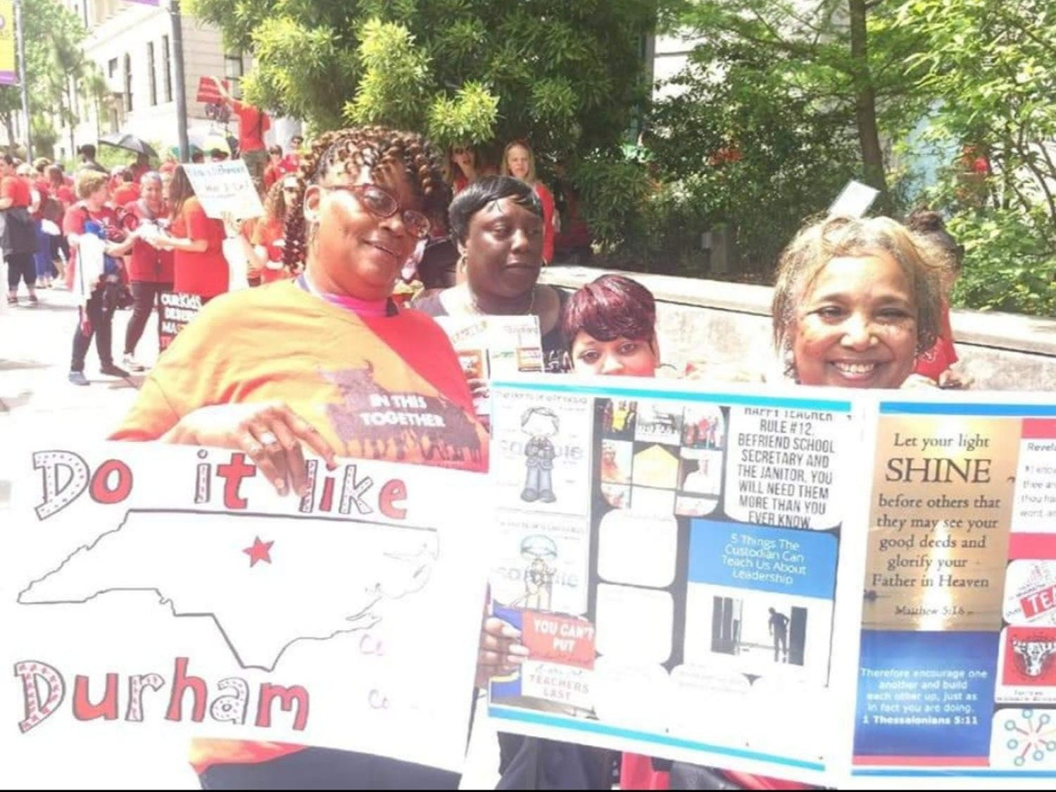 DPS custodians like Deborrah Bailey (right) attend the 2018 NC Public Schools Teacher Rally in Raleigh Day of Advocacy to fight to become in-house district employees rather than contracted. Photo courtesy of Deborrah Bailey.