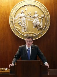N.C. House Speaker Tim Moore speaks as the N.C. General Assembly convenes for a special session at the Legislative Building on Dec. 21, 2016 in Raleigh, N.C. Moore invited President Donald Trump to give his State of the Union address at his state's General Assembly chambers. (Chris Seward/Raleigh News & Observer/TNS)