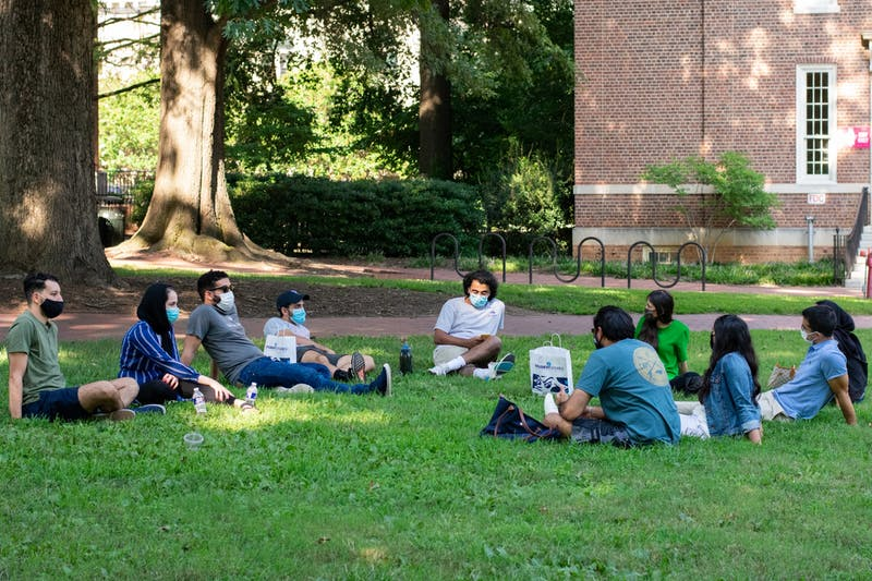 Students and Alumni gather at Polk Place on Sunday, Sept. 6, 2020.