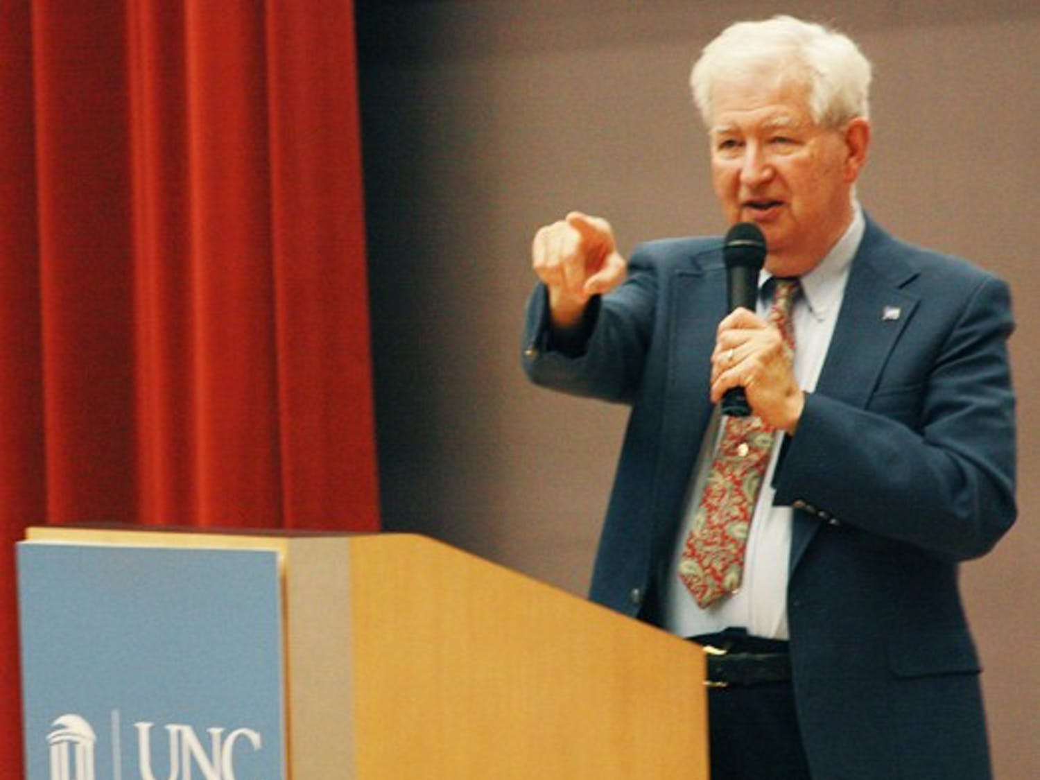 """Charles Green, the co-chair of the West Triangle Chapter of the United Nation introduces Tuesday night's film, """"Fragile States and Global Consequences."""" The evening was sponsored in part by the student United Nations Organization at UNC. The event includes a movie showing on the dangers of already unstable nations in jeopardy of failure including Haiti, the Republic of Congo, Bosnia and East Timor."""