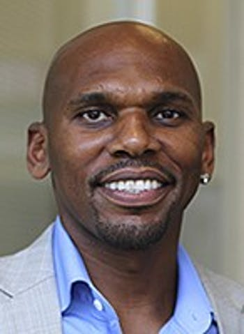 Jerry Stackhouse (left), former UNC and retired professional basketball player visited the School of Journalism and Mass Communications on Wednesday afternoon.
