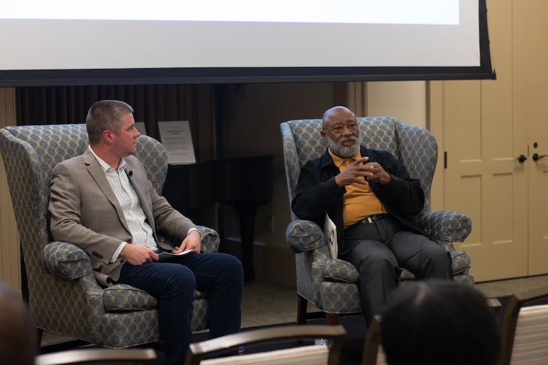 Minister Robert Campbell speaks with Journalist Mike Ogle and shares stories of growing up in a segregated Chapel Hill with his childhood friend, James Cates. The Center for the Study of the American South held a panel honoring Cates's life and untimely murder in Hyde Hall on Thursday, Nov. 14, 2019.