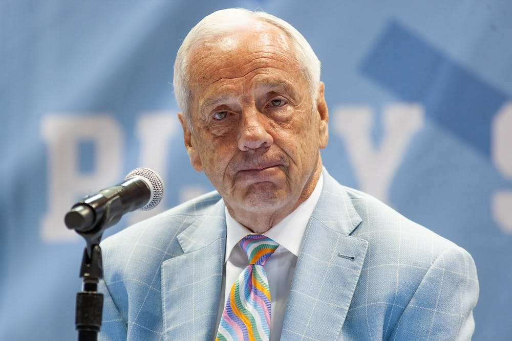 "UNC head coach Roy Williams tears up during his retirement announcement  press conference in the Smith Center on April 1, 2021. ""I no longer feel that I am the right man for the job,"" said Williams on the decision."