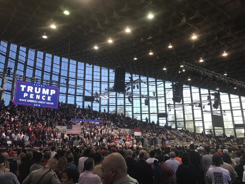 Donald Trump held a rally in Raleigh at the JS Dorton Arena on the NC State Fairgrounds Monday afternoon.