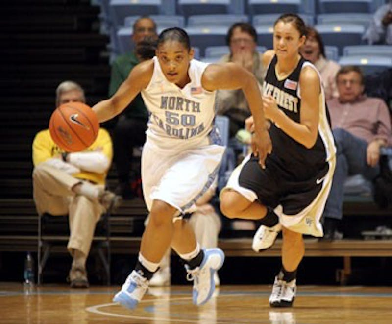 """UNC sophomore Italee Lucas scored a career-high 27 points in Thursday?s game against Wake Forest"""" 17 in the second half."""