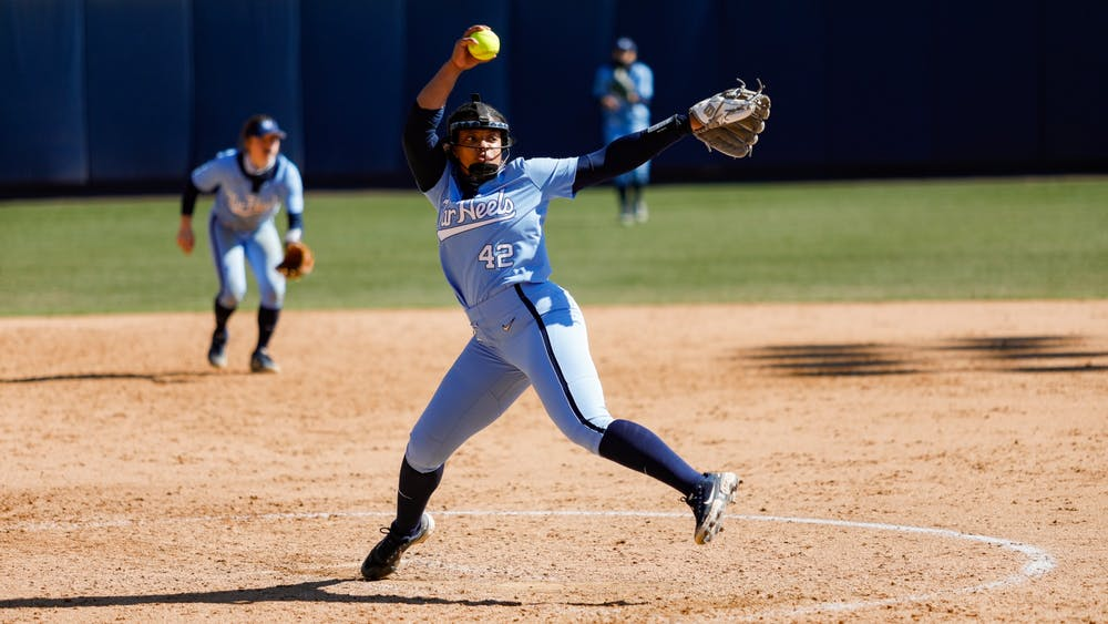 UNC junior pitcher Hannah George (42) makes a throw in Anderson Softball Stadium in Chapel Hill, NC on Feb. 20, 2021. The Syracuse Orange beat the Tar Heels 3-2.