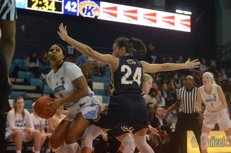 UNC women's basketball sophomore guard Jocelyn Jones prepares to go up for a shot during Friday's game against Kent State. UNC won 73-60.