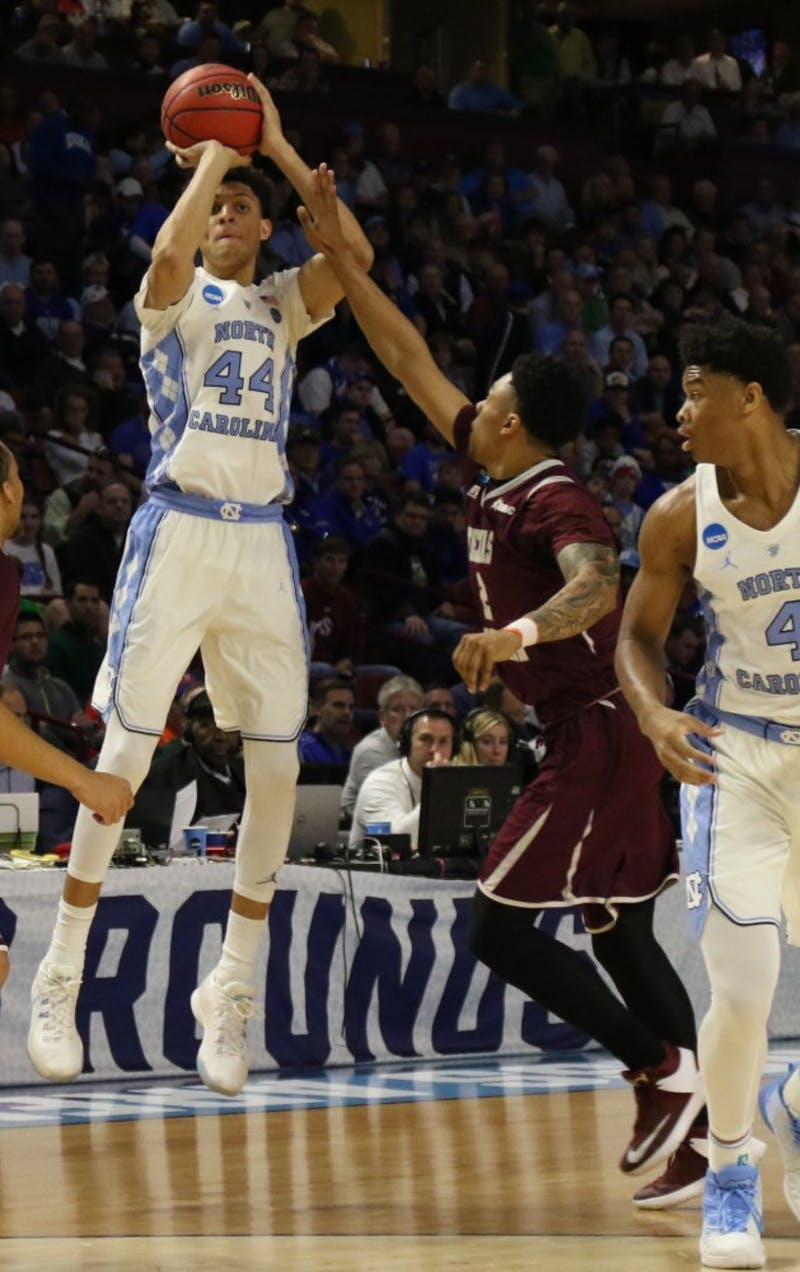 North Carolina wing Justin Jackson (44) pulls up for a three-pointer against Texas Southern in the first round of the NCAA Tournament in Greenville on Friday.