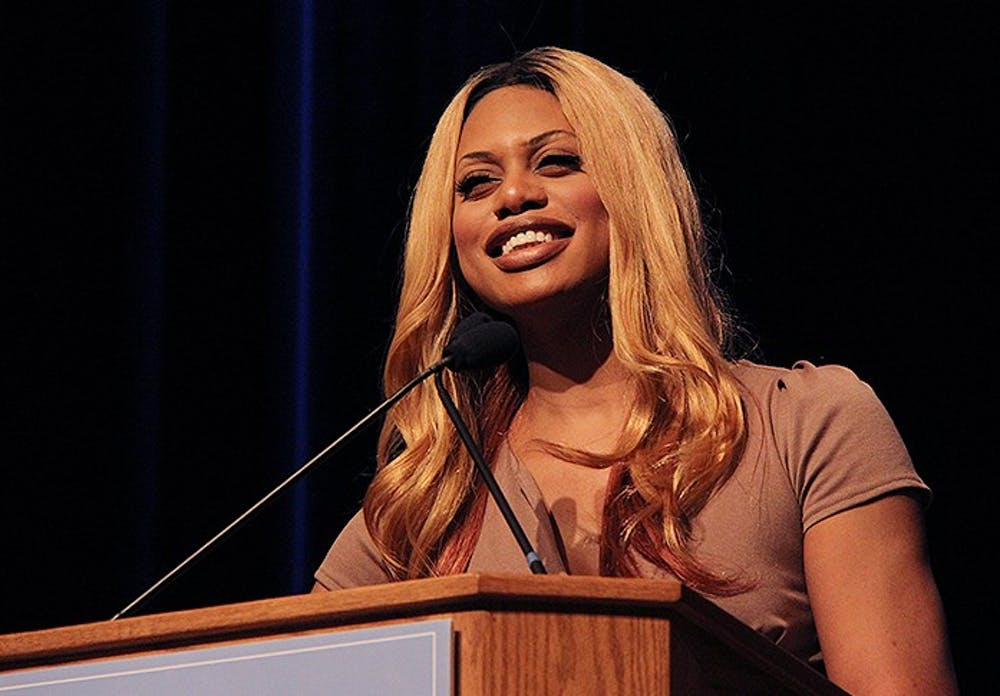 <p>Laverne Cox speaks in the Great Hall of the Student Union Tuesday night at 7 p.m. about her experiences in her transformation as a transgender woman.</p>