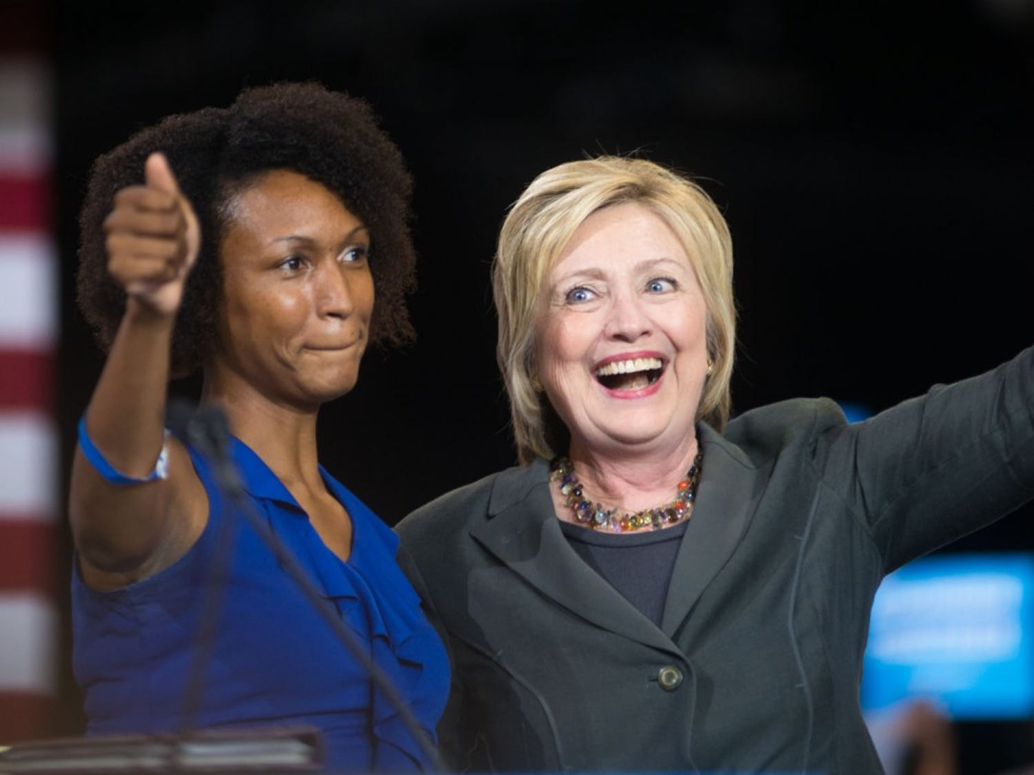 Presumptive Democratic Presidential nominee Hillary Clinton spoke at the North Carolina State Fairground's Exposition Center in Raleigh, NCon Wednesday, June 22.