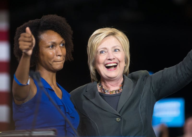 Presumptive Democratic Presidential nominee Hillary Clinton spoke at the North Carolina State Fairground's Exposition Center in Raleigh, NC on Wednesday, June 22.
