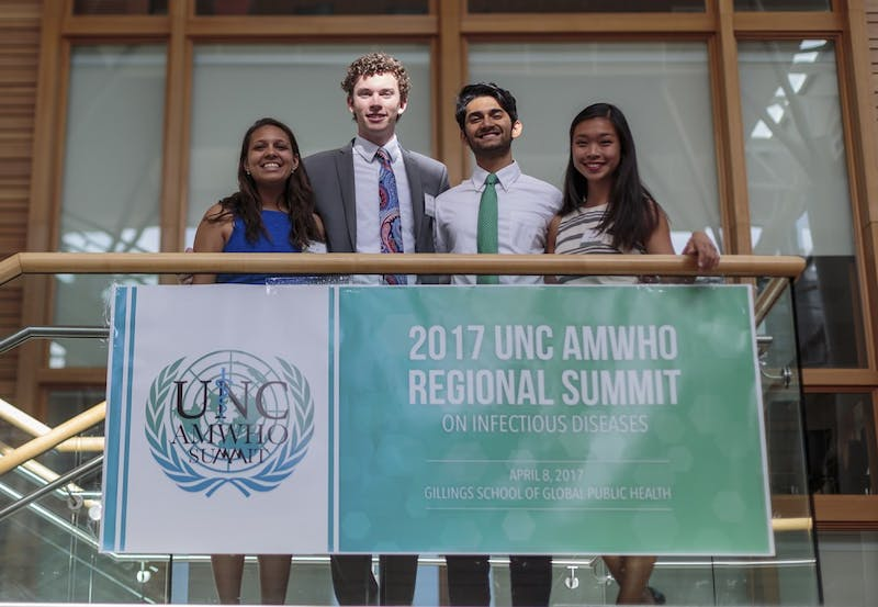 From left: Junior Health Policy & Management major Nupur Jain (UNC AMWHO Co-President), Junior Health Policy & Management major Brian Tanner (UNC AMWHO Director of Finance), Junior Nutrition major Sanjay Gadi (UNC AMWHO Co-President), and Senior Nutritional Epidemiology major Alice Yu (UNC AMWHO Senior Advisor)