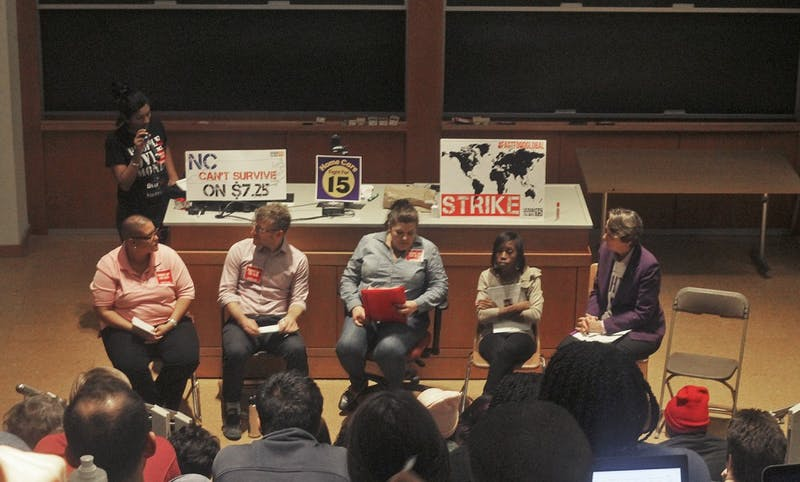 SEIU International President Mary Kay Henry (far right) speaks at Students and Workers Unite for the Fight for $15 hosted by Raise Up on Monday.