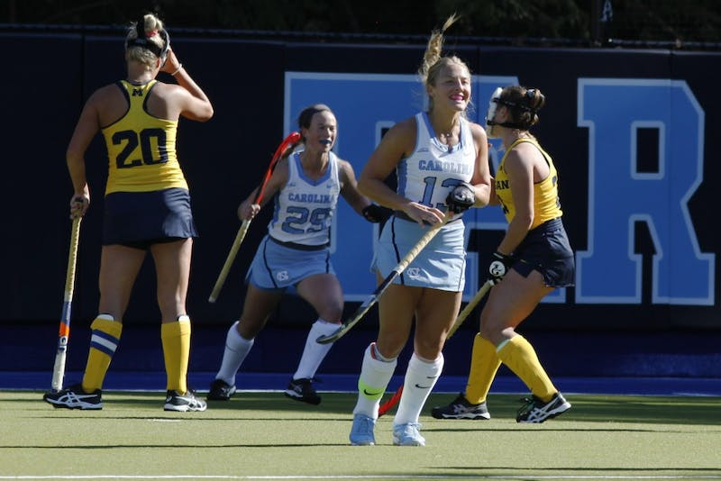 Senior midfielder Ashley Hoffman (13) celebrates after scoring the second goal for UNC against Michigan during the second round of the NCAA Tournament Sunday, Nov. 11, 2018 in Karen Shelton Stadium. UNC won 5-2 to advance to the final four.
