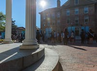 Students and faculty gather outside the Old Well in preparation for the university Day procession on Friday, Oct. 12 2018.