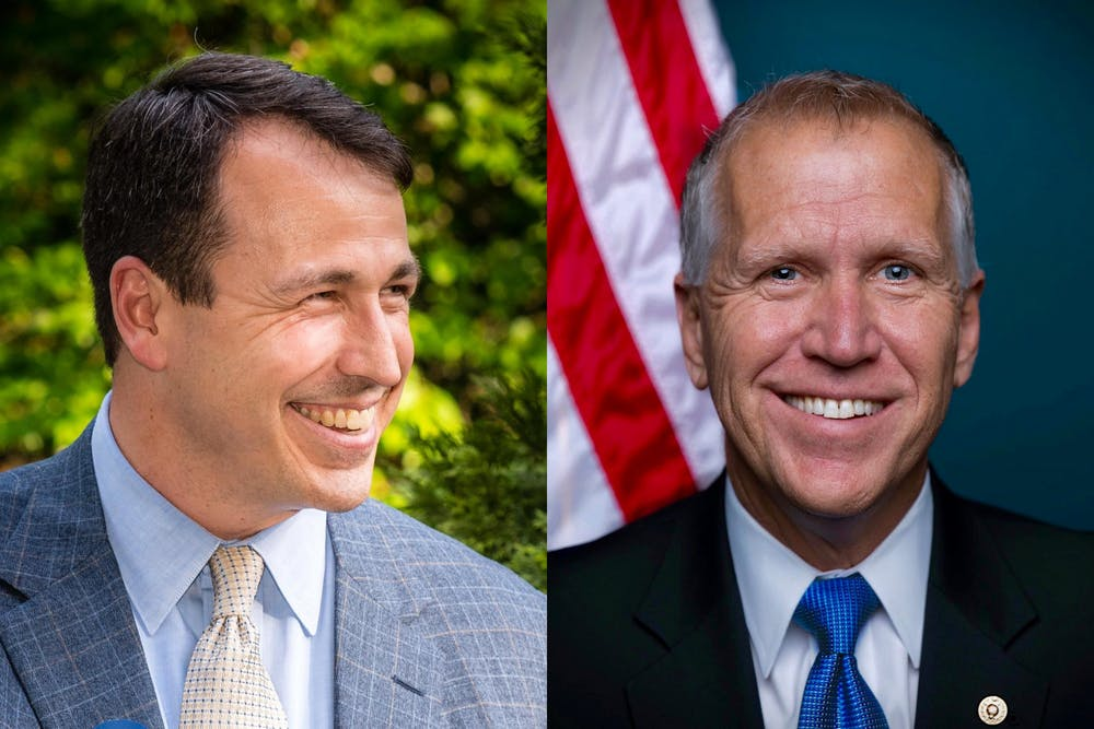 <p>Cal Cunningham (left) and Thom Tillis (right) are candidates for state senator. Photos courtesy of Cunningham and Tillis.</p>