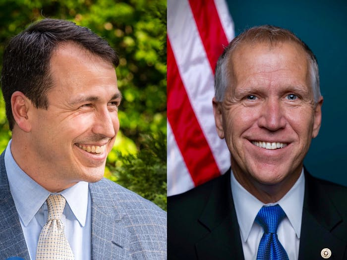 Cal Cunningham (left) and Thom Tillis (right) are candidates for state senator. Photos courtesy of Cunningham and Tillis.
