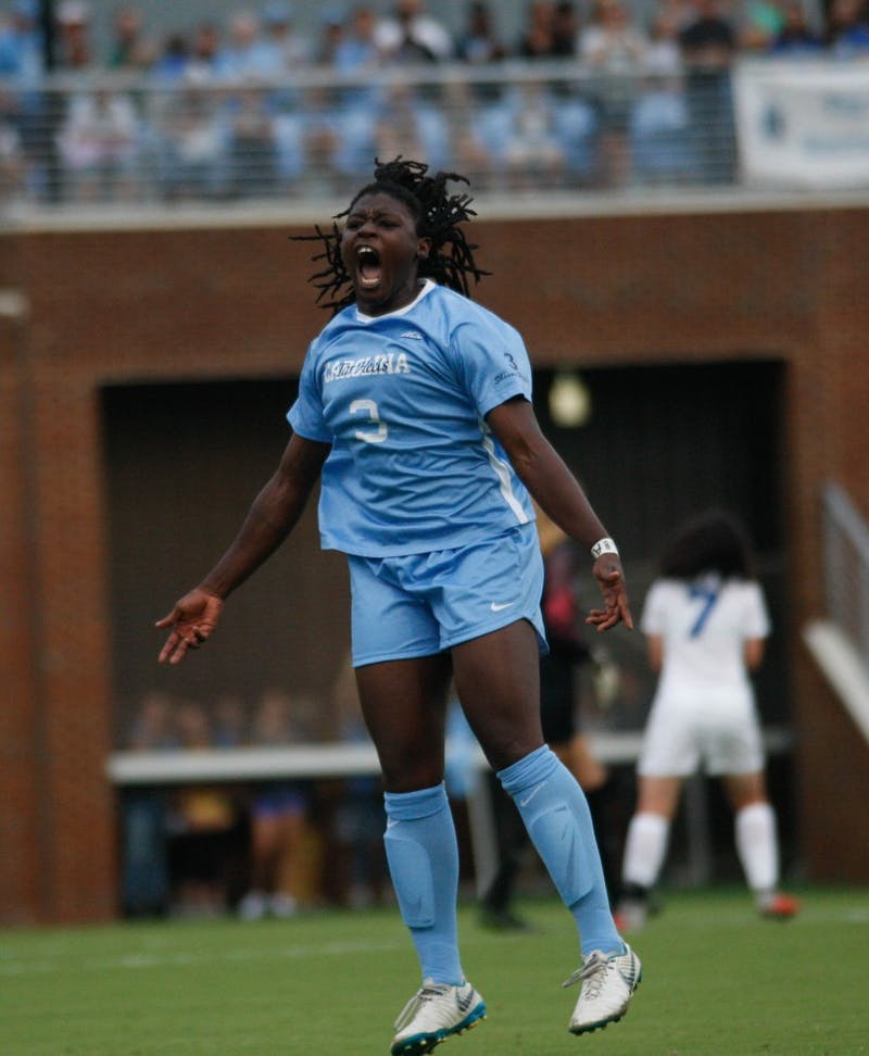 UNC women's soccer forward, Ru Mucherera (3), tries to hype up the sold out crowd during the game against Duke on Sunday August 25, 2019. UNC beat Duke 2-0.