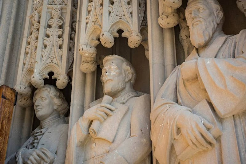 A statue of Confederate Gen. Robert E. Lee at Duke Chapel was recently removed after being defaced Thursday morning. Courtesy of William Snead/Duke Photography