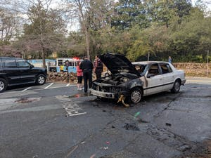 A car caught on fire on Raleigh Road on March 29.