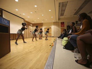 Zankiliwa, an African dance troupe at UNC, performs at Milk and Honey, an event hosted by The Bridge featuring dance, poetry, song, and other performances. The event took place in the Sonja Haynes Stone Center on Tuesday night.