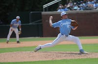 UNC baseball Josh Dotson (27), first-year pitcher) prepares to pitch the ball during the final game of the Chapel Hill Super Regionals on Monday June 10, 2019. UNC lost to Auburn 14-7.