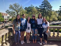 A group of seniors on top of the Bell Tower after participating in the GAA's Senior Week Bell Tower Climb. Contributed by Elizabeth Marks.