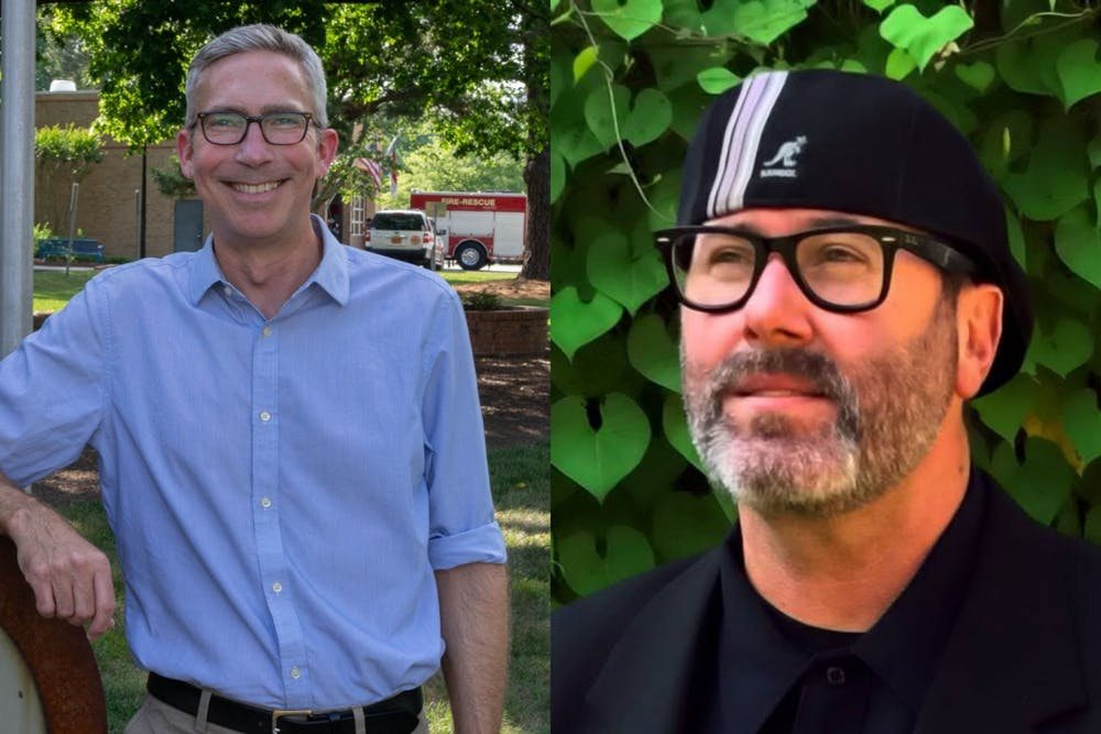 <p>Damon Seils (left) and Mike Benson (right) are running for Mayor of Carrboro. Bowen photo courtesy of Mike Benson For Mayor of Carrboro.</p>