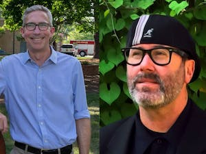Damon Seils (left) and Mike Benson (right) are running for Mayor of Carrboro. Bowen photo courtesy of Mike Benson For Mayor of Carrboro.