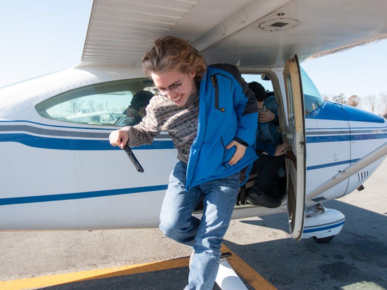 Carolina General Aviation gave UNC students free 30 minute flights in single-engine planes at the Burlington-Alamance Regional Airport on Saturday, Feb. 2, 2019.