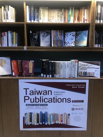 Pictured is the Taiwanese Publications Exhibit display in Davis Library on UNC's campus.