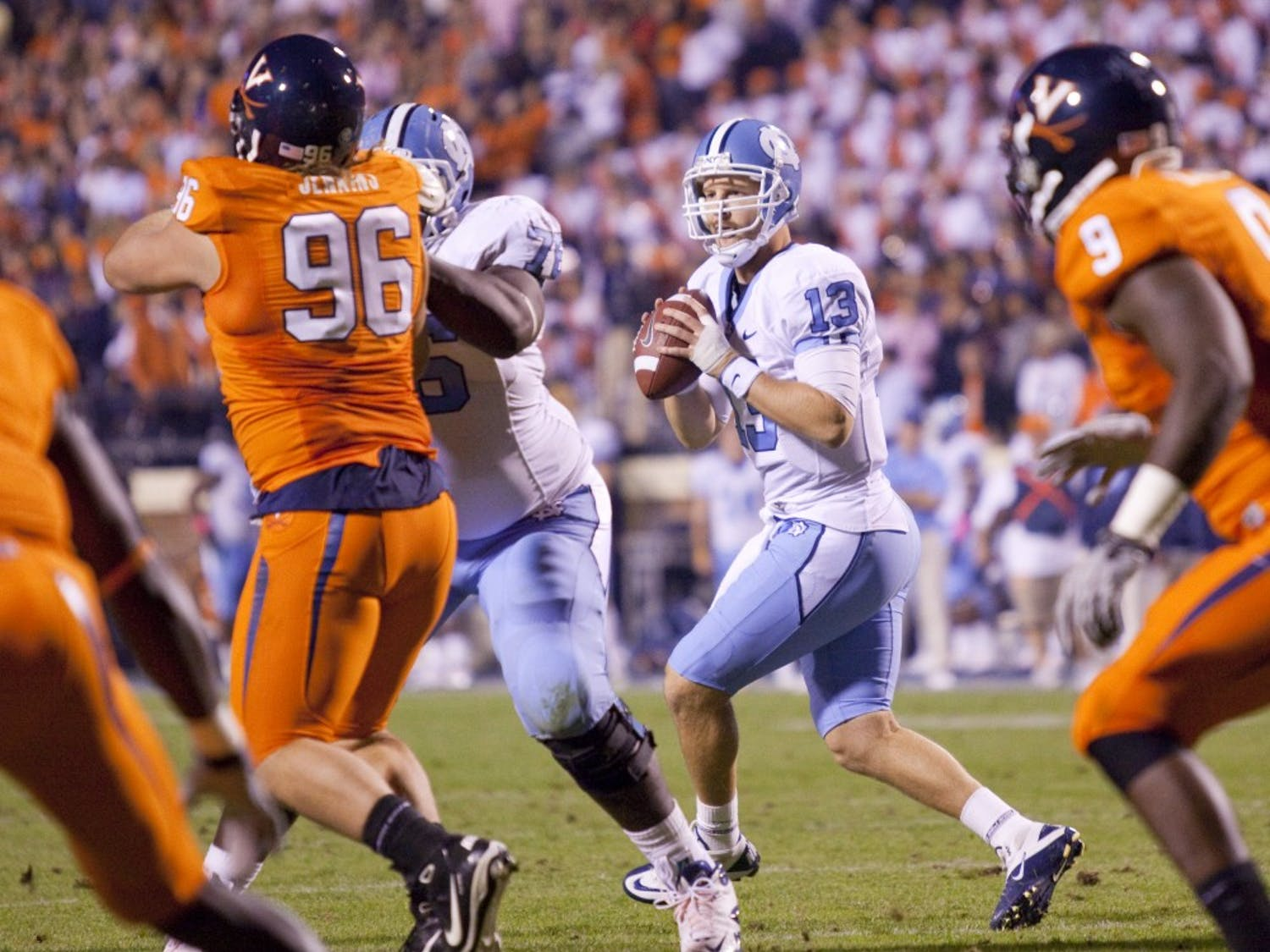 Senior quarterback T.J. Yates passed for 325 yards in the Tar Heels' 44-10 victory over Virginia.