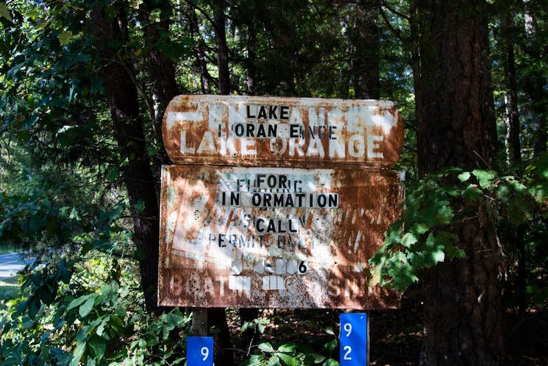 A sign marking the entrance to Lake Orange boat access. Residents of the Lake Orange area have been paying taxes on land owned by Lake Orange Inc.