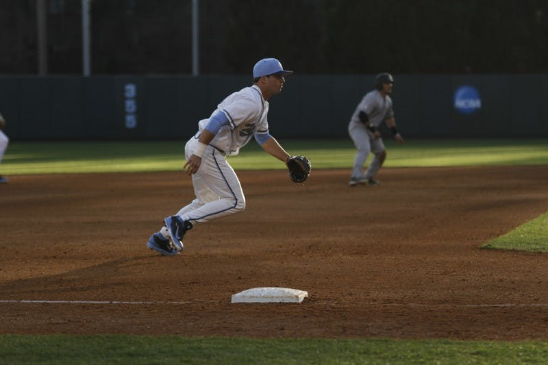 North Carolina third baseman Alex Raburn reacts to a play in Tuesday's win over Appalachian State.