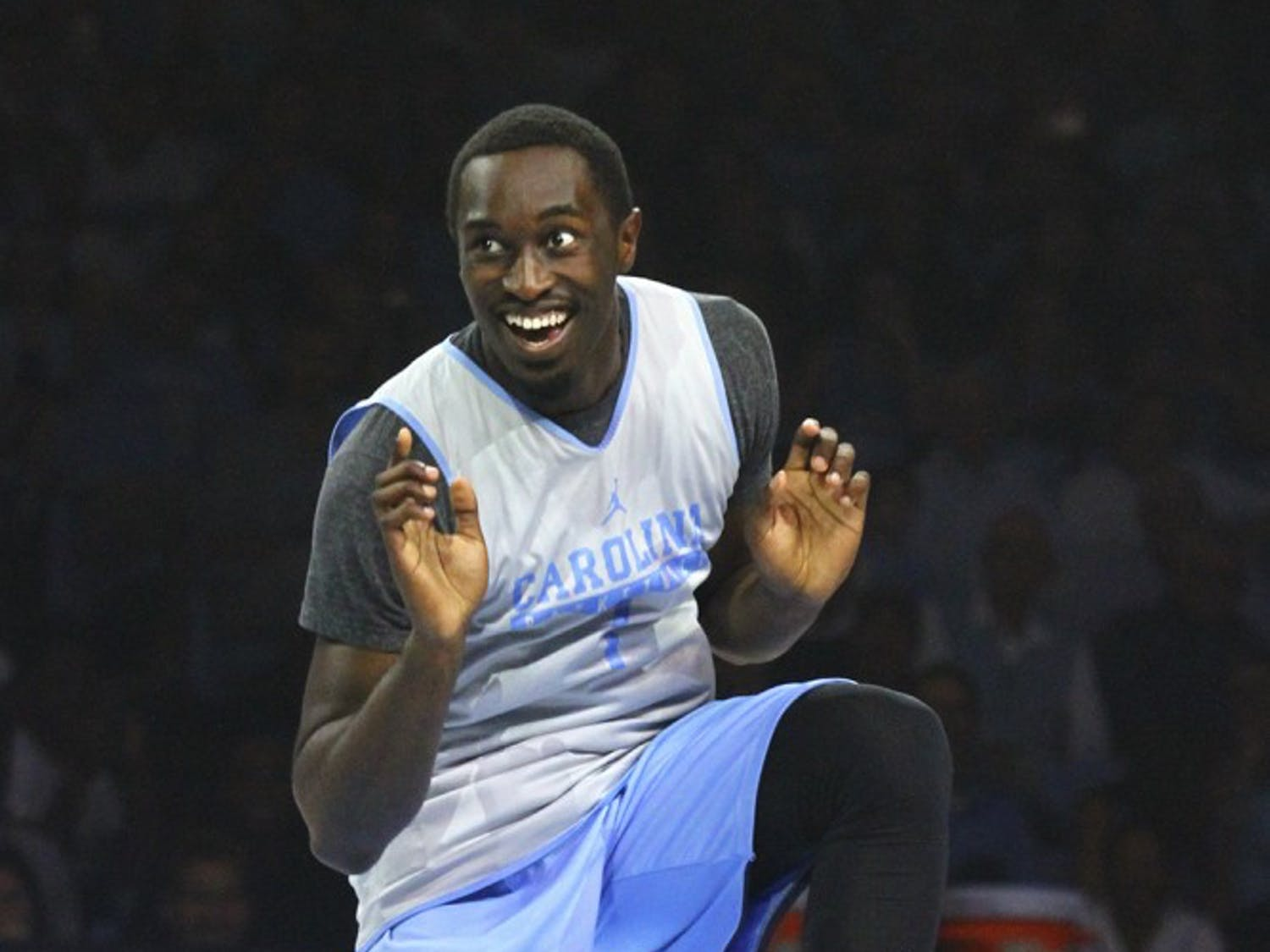 Theo Pinson (1) participated in a dance off against teammate Joel Berry at Late Night With Roy on Friday night.