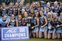 The UNC field hockey team poses for a picture after winning the ACC championship against Wake Forest on November 4, 2018 at Karen Shelton Stadium. UNC beat Wake Forest 7-2. The team also won the 2017 ACC championship as well.