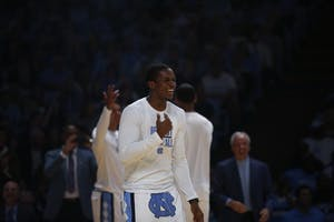 Guard Kenny Willams jokes around during UNC's Late Night With Roy event on Oct. 13.
