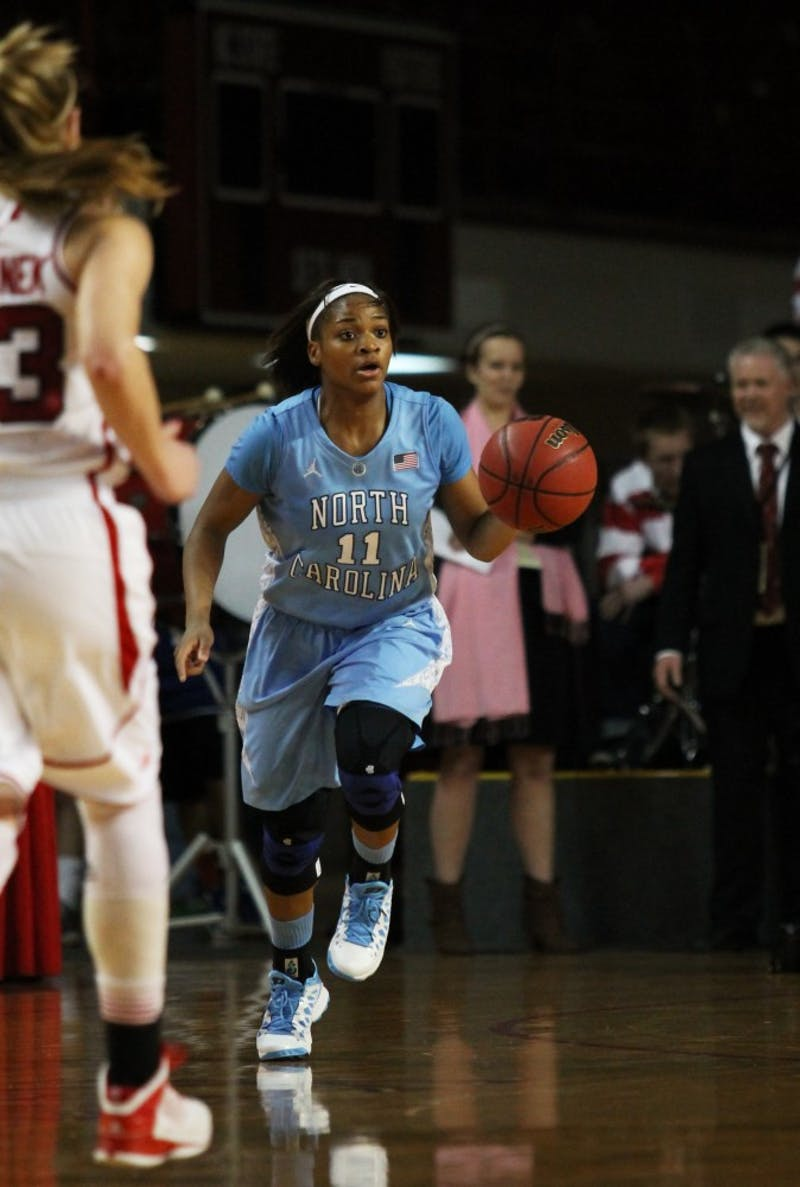 Brittany Rountree brings the ball up the court against the NC State defense.