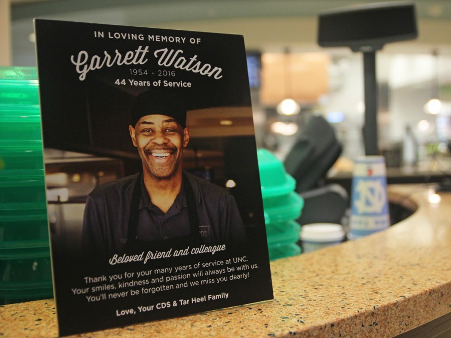 Carolina Dining Services put up a plaque in the front of Rams Dining Hall in memory of Garrett Watson.