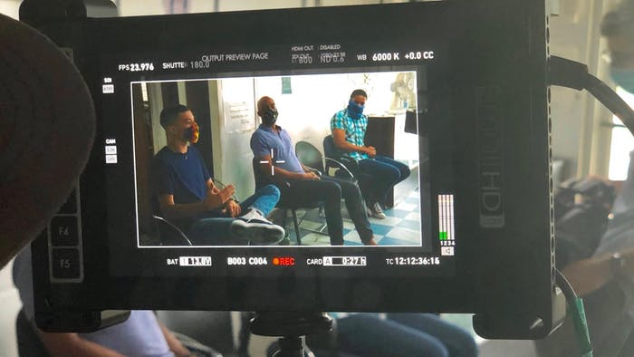 Behind the scenes on the set of a Biden commercial featuring UNC's Greear Webb. Photo courtesy of Webb.