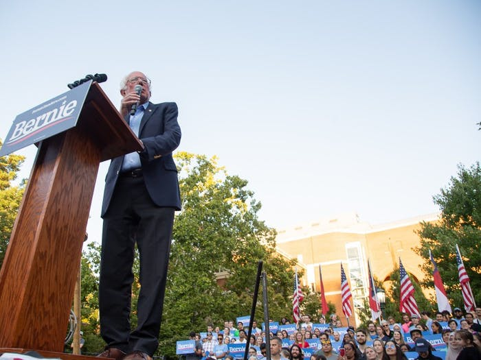 Democratic Vermont Senator Bernie Sanders speaks to a crowd of 2,528 on UNC's campus during his campaign to be the Democratic Nominee for the 2020 Presidential race.