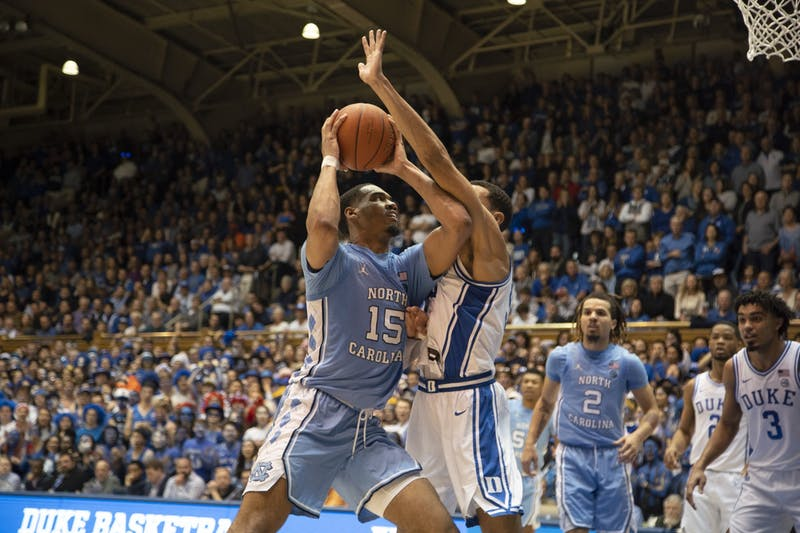 UNC junior forward Garrison Brooks (15) prepares to take a shot against Duke in Cameron Indoor Stadium on Saturday, March 7, 2020. UNC lost to Duke 89-76.