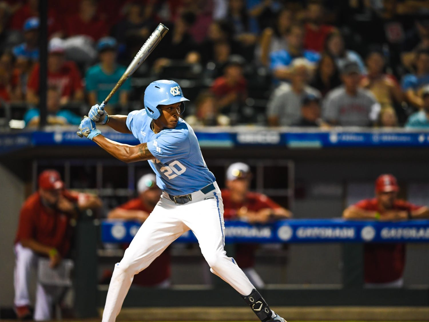UNC sophomore outfielder Justice Thompson (20) bats at the ACC tournament game against NC State on Friday May 28, 2021 in Charlotte, NC. UNC won 9-6. Photo courtesy of Maggie Boulton and Laura Wolff.