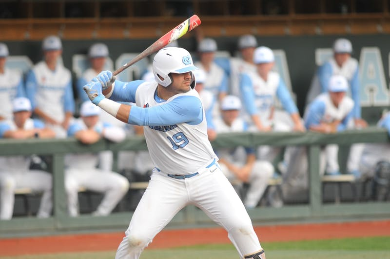 UNC sophomore First Basemen Aaron Sabato (19) at bat on Tuesday, Feb. 25, 2020 in Boshamer Stadium against NC A&T. UNC beat NC A&T 8-0.