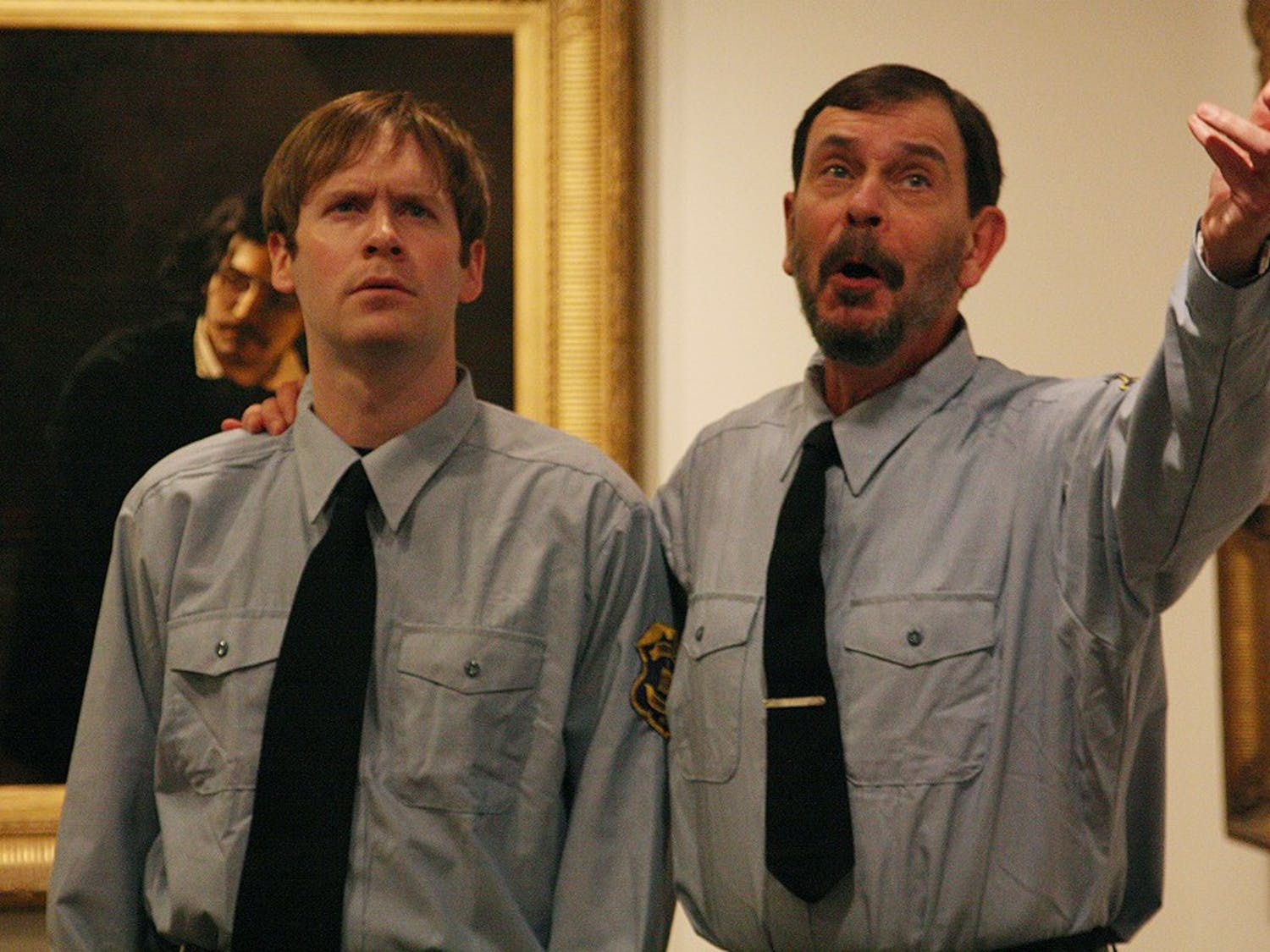 """Allan Maule (left)  and Thom Gradisher (right) act in """"Wisdom"""" written by Clyde Edgerton and directed by Akiva Fox. The play was inspired by Jules Dalou's 1889 sculpture, """"Wisdom Supporting Liberty."""" The Ackland Art Museum hosts """"Activated Art"""" live theater performances held in the museum's own galleries. The one-act plays of """"ekphrastic theater""""- theater performance inspired and based on specific works of art- were presented with a grant from the UNC Institute for the Arts and Humanities."""