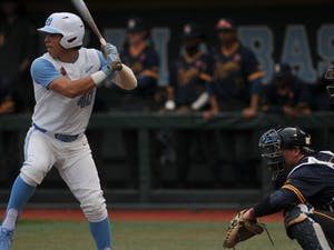 UNC sophomore Angel Zarate (40) at bat on Tuesday, Feb. 25, 2020 in Boshamer Stadium against NC A&T. UNC beat NC A&T 8-0.