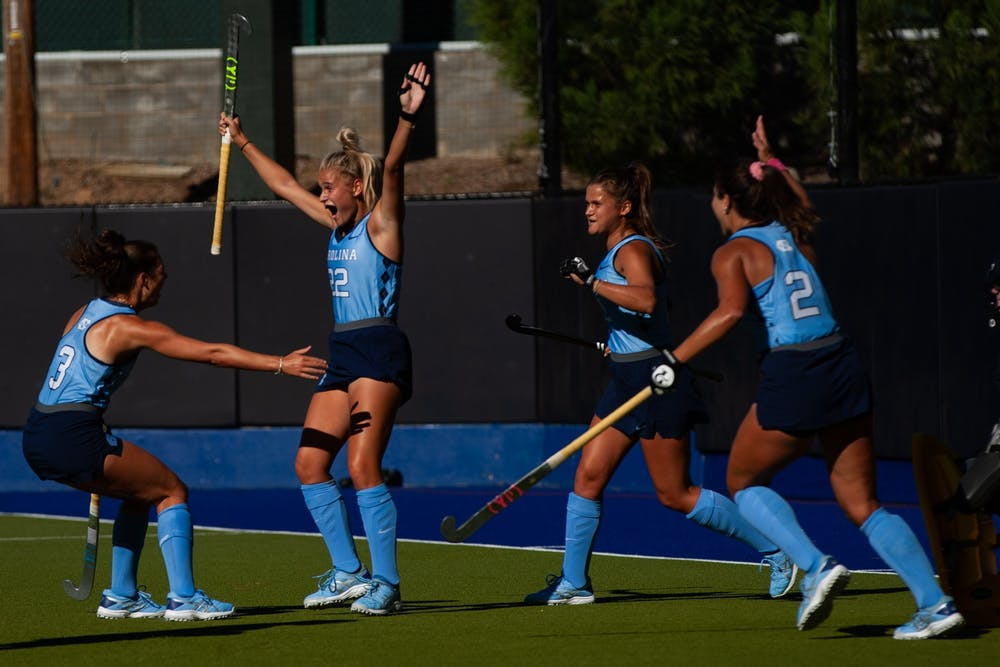 <p>First-year Jasmina Smolenaars (22) celebrates with her teammates after scoring her first goal in the Sept. 24 match against Boston College.</p>