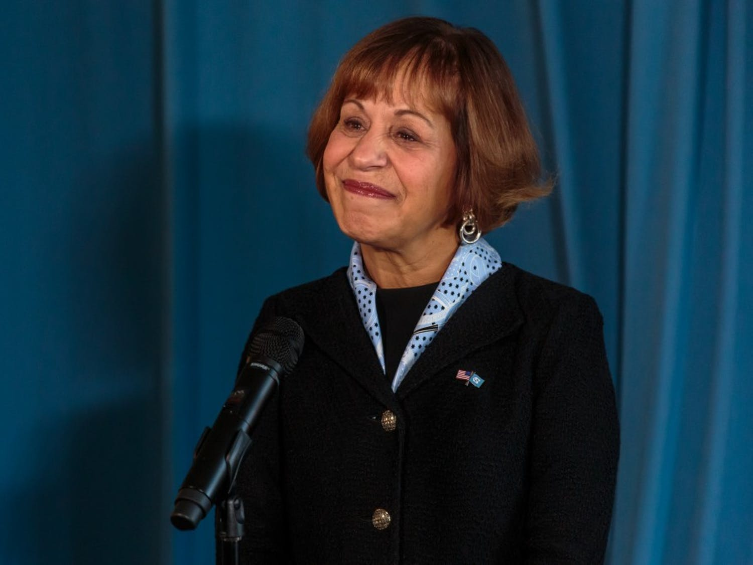 Chancellor Carol Folt takes questions during the media availability of the UNC Board of Trustees meeting on Thursday, Jan. 31 2018 at the Carolina Inn.